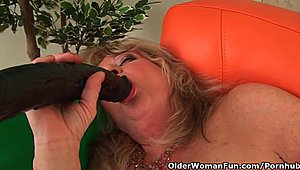 Grandmother With ample titties Pushes A monstrous toy-joystick Into Her Old cooter Hot XXX