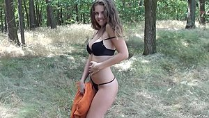Veronica - terrific sweet stripling Striptease In The Woods