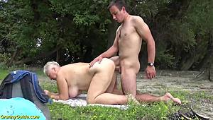 Jelly-belly MILF public doomed by her toyboy HD